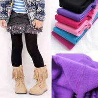 Girls Kids Children Winter Warm Velvet Leggings Solid Candy Color Pants Trousers