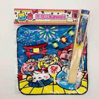 New Set of 2 Hoppe Chan & Friends Paper Fan and Character Handkerchief Kawaii
