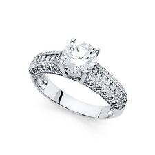 14k White Gold Cz Solitaire Vintage Style Engagement Ring Bridal Round Cz Band