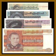Burma 1 5 10 25 Kyats (4 Pcs Set), ND 1972-1973 P-56-59 Unc