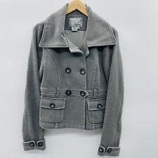 Daytrip Womens Size Medium Textured Knit Peacoat Jacket Cotton Blend Gray
