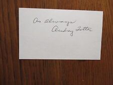 "AUDREY  TOTTER (""The Postman Always Rings Twice"")   Signed  3"" x 5""  Index  Card"