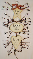 """LIVE LAUGH LOVE"" Rustic Country Wood and Pip Plaque Inspirational home decor"
