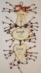 """""""LIVE LAUGH LOVE"""" Rustic Country Wood and Pip Plaque Inspirational home décor"""