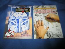 STAR WARS CELEBRATION V 2010 Original Art Sketch Card by Matt Busch ~BOBA FETT