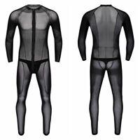Herren Ganzkörper Body Langarm Overall Transparent Jumpsuit Unterwäsche mit Slip