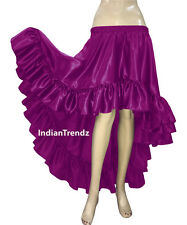 Belly Dance Satin Flamenco Skirts Ruffle Asym Gypsy Dancewear Jupe Tiered Rok