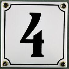 """Weiße Emaille Hausnummer """"4"""" 12x12 cm Hausnummernschild sofort lieferbar Schild"""