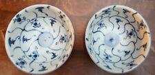 2 Tek Sing Antique 19thC Chinese blue white porcelain bowls China Marked w/ Ring