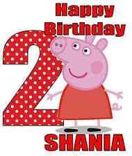 "Peppa Pig Birthday Personalized Iron On Transfer 5""x6"" for LIGHT Colored Fabrics"