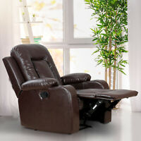 Manual Recliner Chair Padded Lounge Sofa Overstuffed Home Office Brown