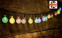 20ft 30 LED Solar Outdoor String Lights RGB Crystal Ball Bulb