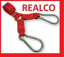 RED Y SPEC LIFT DOLLY RECOVERY RATCHET STRAPS FULL KIT WITH CARBINE & FLAT HOOKS