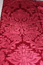 """French Antique c1880 Double Frame Jacquard Red Silk Panel~1yd18""""Lx50&#03 4;W"""