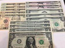 New Uncirculated Variety Pack of $20's, $10's, $5's, $2's and $1 Dollar Bills
