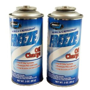 Johnsens R134a + Oil Charge Auto A/C Refrigerant Gas Freon USA 3oz - 2 Can