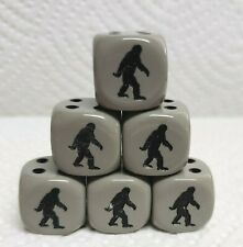 Dice - (6) *Bigfoot* on 16mm Opaque Grey w/Black Pips & Black Images on #1 side