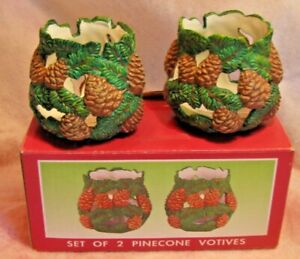 Set of 2 Pine Cone Design Votives Candle Holders Green and brown New in Box
