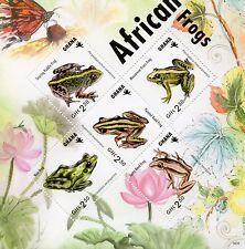 Ghana 2014 MNH African Frogs 5v M/S Amphibians Fauna Nest Grass Reed Frog