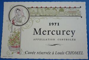ETIQUETTE MERCUREY 1971 Cuvée réservée NEUVE