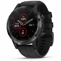 Garmin fenix 5 Plus Sapphire Black GPS Watch with Black Band, Music + Mobile Pay