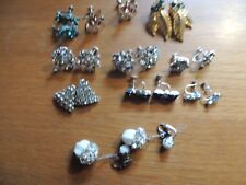 10 pair of vintage Rhinestone earrings.  NOT signed.