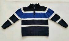 Tommy Hilfiger Boys 2T Cotton 1/4 Zip Striped Sweater Navy Blue White Pullover