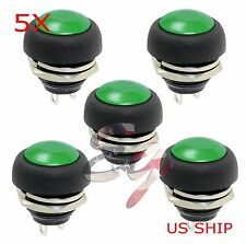 Green 5 Pcs M4 12mm Waterproof Momentary ON/OFF Push Button Round SPST Switch