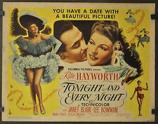 Heute Abend Und Every Nacht 1945 Orig 22X28 Film Poster Rita Hayworth Lee Bowman