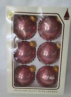 Vintage Christmas By Krebs Dusty Rose Designer Glass Balls w/Crowns Six IOB GUC