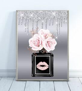 Perfume Glitter Print Silver Wall Art Fashion Glam Floral  Flowers Lips Bedroom