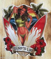 "Oldschool Sticker "" Surfs Up "" Pinup Surfboard Hawaii Sticker Woody Retro Auto"