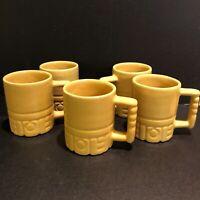 Frankoma Coffee Mug Cup C4 Plainsman Aztek Mayan Yellow Set of 5 Vintage