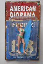 """LADY SURFER PARIS AMERICAN DIORAMA 1:18 Scale FEMALE GIRL  4"""" Figure"""