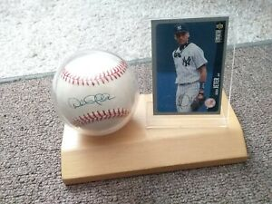 Derek Jeter Autographed Official American League Baseball W/Display Stand & Card