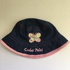 NEW Girls CEDAR POINT Hat Sparkly Butterfly Blue Denim Kids Children NWT d6b58a391cb