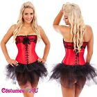 Burlesque Satin Ladies Corset Dress Up Costume Showgirl Red Bustier Tutu Skirt