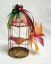 """GANZ BIRD WITH FEATHER TAIL IN A METAL WIRE CAGE XMAS ORNAMENT 5.5"""" TALL"""