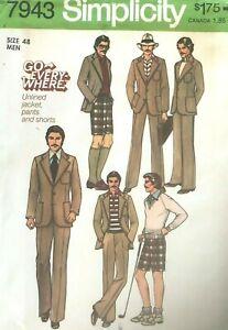 1970's VTG Simplicity  Men's Pants, Shorts, Jacket Pattern 7943 Size 48 UNCUT