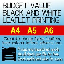 Cheap Black and White Printing - Budget Printed Leaflets/Adverts/Flyers A4 A5 A6