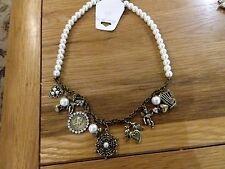 Brand new chunky antique gold look pearl charm necklace  and gift box