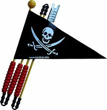 Fahrradwimpel Pirat schwarz 160 cm Sicherheitswimpel Fahrradfahne Fahne Wimpel