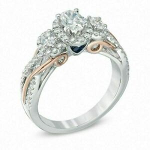 Vera Wang Love Collection 1 CT Oval Diamond Three Stone Engagement Silver Ring