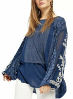 NWT $128-Free People Boho Hippie Indigo Dreams Embroidered Tunic Top Size:XS