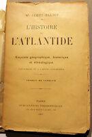 ATLANTIDE/HISTOIRE DE L'/SCOTT-ELLIOT/ED THEOSOPHIQUES/1901/4 CARTES/INTROUVABLE
