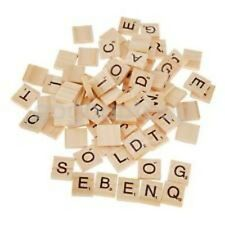 100 wooden scrabble tiles Black scrabble Letters Numbers for art craft unvarnish
