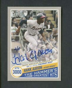 2019 Topps Heritage Real One Hammer's Greatest Hits Hank Aaron Signed AUTO 2/5
