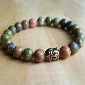 8mm Natural Epidote Handmade Mala Bracelet Wrist Cuff Buddhism Meditation Chakas