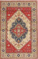 Geometric Medallion Super Kazak Oriental Kitchen Area Rug Wool Hand-Knotted 4x6
