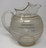 Vtg Mid Century Modern Gold And White Glass Ball Pitcher Carafe